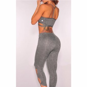 HengSong Lady Sport Slim Bras Leggings 2pcs Sportsuit Sexy Women Sets Push Up Tracksuit for Fitness Yoga Exercise Running (Grey) - intl - 5