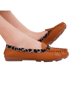 HengSong Leopard Grain Leisure Soft Leather Doug Shoes Flat ShoesYellow - 3