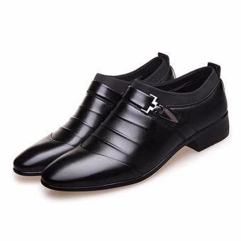 HengSong Men's Formal Business Leather Shoes Casual Formal Shoes (Black) - intl