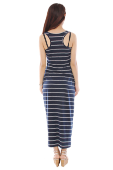 Hengsong Sleeveless Long Striped Beach Dresses (Royal Blue) - picture 2