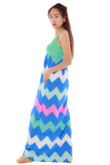 HengSong Splice Skirts Sexy Beach Dresses (Green) - picture 3