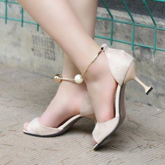 HengSong Summer Ladies Fashion Shallow Mouth Fish Mouth High-heeled Shoes Pearl buckle Sandals(Beige) - intl - 4