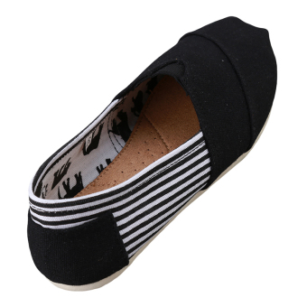 HengSong Tom Thomas Canvas Shoes Stripe Flat Casual Shoes Couple Lover Shoes Black - Intl - 3