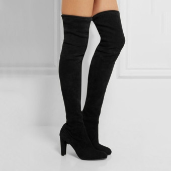 HengSong Women Fashion Solid High Heel Suede Knee Long Boots Black - intl
