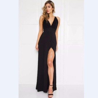 HengSong Women Sexy Satin Strapless Dress V-Neck Fashion Long Party Dresses (Black) - intl