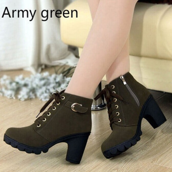 HengSong Women Thick PU Leather High Heel Martin Ankle Zipper Boots Army Green