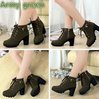 HengSong Women Thick PU Leather High Heel Martin Ankle Zipper Boots Army Green - 2