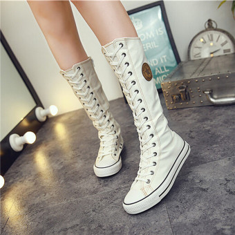 HengSong Women's Canvas Boots Lace Zip Knee High Boots Women Boots Flats Casual Tall Punk Shoes Girls White - intl