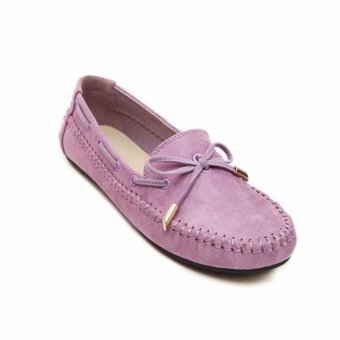 HengSong Women's Shoes Beanie Flat Shoes Bow tie Woman Ladies Soft Loafers Flats Purple - intl - 4