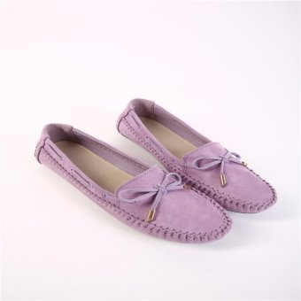 HengSong Women's Shoes Beanie Flat Shoes Bow tie Woman Ladies Soft Loafers Flats Purple - intl - 5