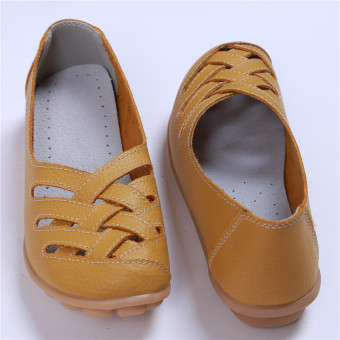 HengSong Women's PU Leather Hollow-Out Flat Shoes Yellow - Intl - 2