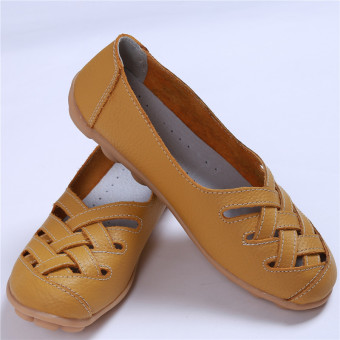 HengSong Women's PU Leather Hollow-Out Flat Shoes Yellow - Intl