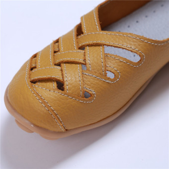 HengSong Women's PU Leather Hollow-Out Flat Shoes Yellow - Intl - 5