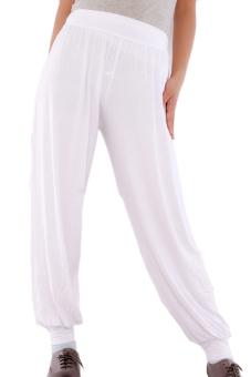 Hengsong Yoga Pants Loose Long Trousers (White)