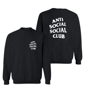 Hequ Casual New Men Fashion ANTI SOCIAL SOCIAL CLUB Letter PrintFull Sleeve Men T-shirt Black - intl
