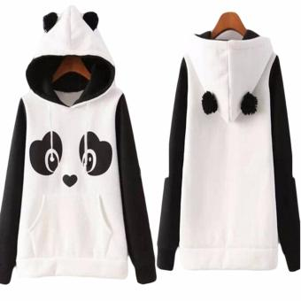 Hequ Christmas New Lovely Women Panda Hoodies Black and White Winter Autumn Cosplay Pullovers Sweatshirts White - intl - 5