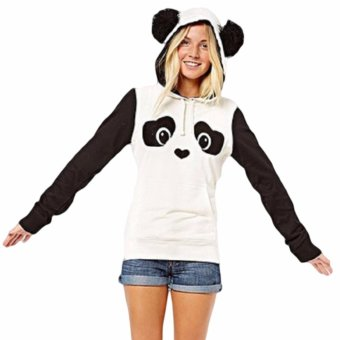 Hequ Christmas New Lovely Women Panda Hoodies Black and White Winter Autumn Cosplay Pullovers Sweatshirts White - intl - 2