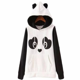 Hequ Christmas New Lovely Women Panda Hoodies Black and White Winter Autumn Cosplay Pullovers Sweatshirts White - intl