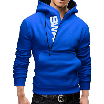 Hequ Fashion Mens Hoodies Long Sleeve Casual Pullover SweatshirtChandal Hombre Hip Top Men Hoodies Blue - intl