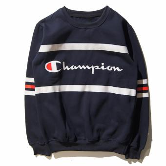 Hequ Fashion Mens Long Sleeve Round Neck Sweatshirt Hoodie Letters Printed Champion Hip Hop Skateboard Casual Coat Sweatshirt Cotton Pullover - intl