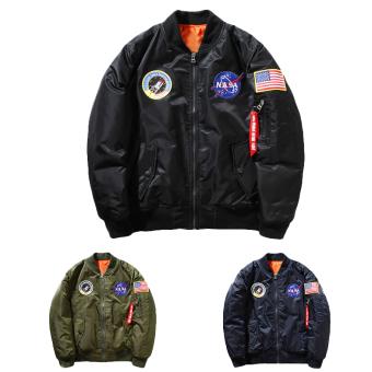 Hequ Freelee Nasa Flying Jacket Nylon Letter Man Varsity American College Bomber Flight Jacket Army Green - intl - 3