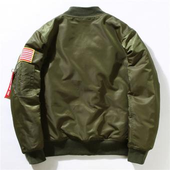 Hequ Freelee Nasa Flying Jacket Nylon Letter Man Varsity American College Bomber Flight Jacket Army Green - intl - 2