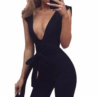 Hequ Half Sleeve Women Deep V Neck Jumpsuit Romper Long PantFashion New Elegant Satin Black - intl