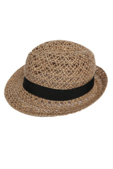 Hequ Korean Version of The Small Pepper Hollow Straw Hat Linen Summer Men and Women Jazz Hat Shading Sun Hat Beach Fashion - intl