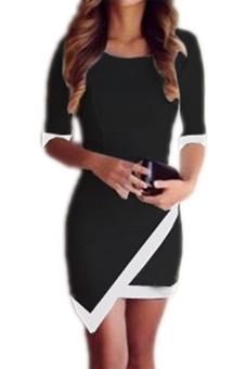 Hequ Ladies Half Sleeve Patchwork Dress (Black)