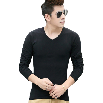 Hequ Mens Long Sleeve T-shirt Slim T-shirt (Black)