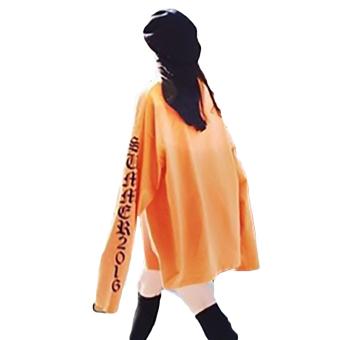 Hequ New Fashion Kanye West Big Bang T-shirt Hip Hop Style LooseSleeve Oversized Women Men T-shirt Orange - intl - 3