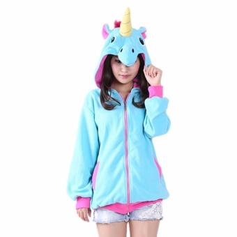 Hequ NEW Unicorn Animal Hoodie Cosplay Coat Unisex Jacket Sweatshirt Blue - intl