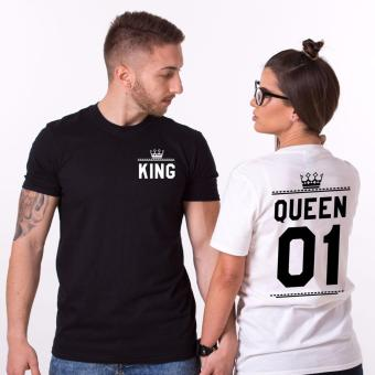Hequ Shirts Man Short Sleeve O neck Cotton T-shirt King QueenCasual Print Couples Leisure T-shirt Women T shirt Black - intl
