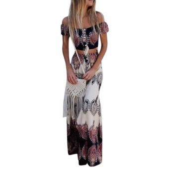 Hequ Two Piece Totem Print Women Off Shoulder Boho Crop Tops + Split Long Skirt Multicolor - intl