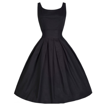 Hequ Vintage Hepburn Wind Waist Thin Fluffy Dress (Black)