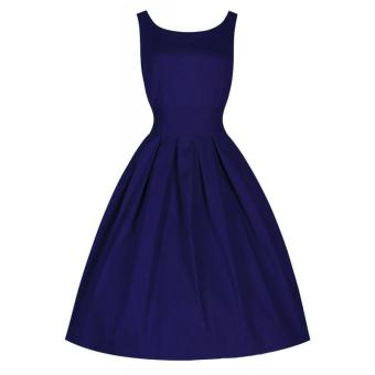 Hequ Vintage Hepburn Wind Waist Thin Fluffy Dress (Blue)