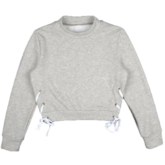 Hequ Winter Knitted Sweater Women Long Sleeve Bandage Crop Tops VNeck Lace Up Sweater Basic Tops Sweater Grey - intl