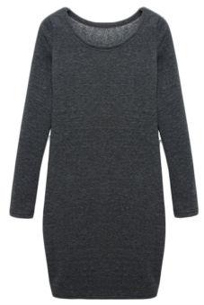 Hequ Women Sheath Warm Casual Dresses (Grey)