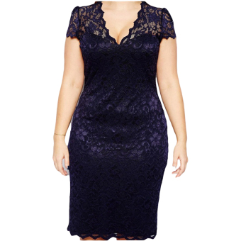 Hequ Women Short Sleeve V-Neck Lace Midi Dress Navy Blue