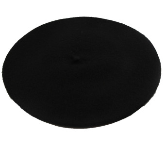 Hequ Wool Blend Beret Beanie Hat Cap (Black)