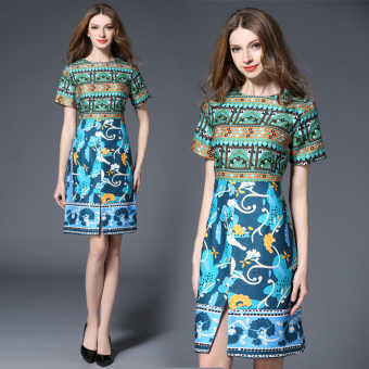 High-end European and American round neck Print short-sleeved short dress
