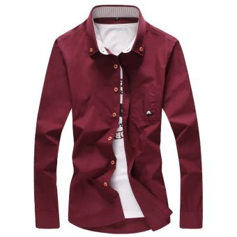 High-end Korean-style long-sleeved Slim Fit Youth white shirt men's shirt (Red Wine)