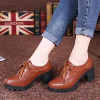 High Heel Women Lace-up Leather Shoes Platform Pumps Ladies ThickHeel Work Shoes (Brown) - intl - 2