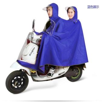 High Quality Adults Motorcycle Cycle Scooter Waterproof Couple RainCoat (Blue)