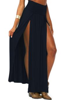 High Waisted Long Skirt (Black)