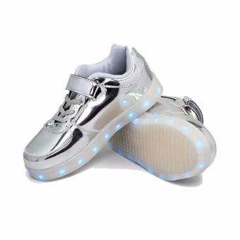 Hk Bubugao 1122 Sports LED Lightning Girl's Sneaker Shoes (Silver)