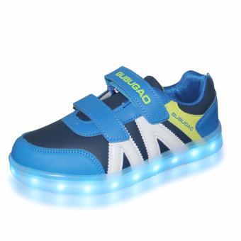 Hk Bubugao 5957A Deluxe Fashion Sports Dancing LED Lightning Boy's Sneakers Shoes (Blue) - 2