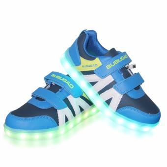 Hk Bubugao 5957A Deluxe Fashion Sports Dancing LED Lightning Boy's Sneakers Shoes (Blue)