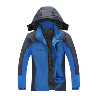 HKS Plus Thick Velvet plus Cotton Mens Sports Jacket Outdoor Ski Mountaineering Cold and Warm Clothes Coat Jacket Coat Thick Section Big Red Orange -L - Intl - picture 2