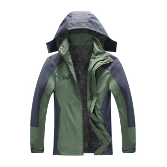 HKS Plus Thick Velvet plus Cotton Mens Sports Jacket Outdoor Ski Mountaineering Cold and Warm Clothes Coat Jacket Coat Thick Section Big Red Orange -L - Intl